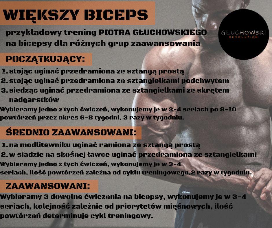 Przykładowy trening Piotra Głuchowskiego na bicepsy dla różnych grup zaawansowania.